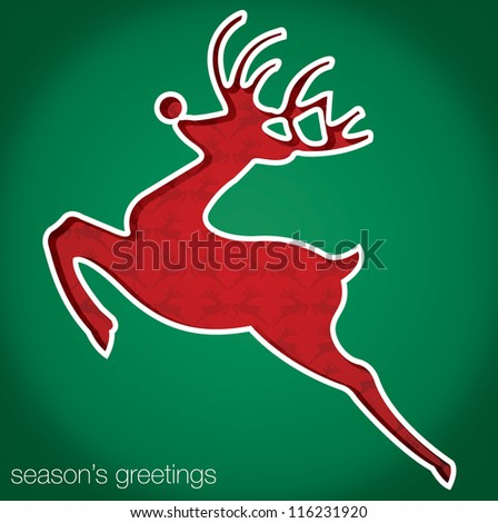 "Reindeer ""Season's Greetings"" cut out card in vector format."