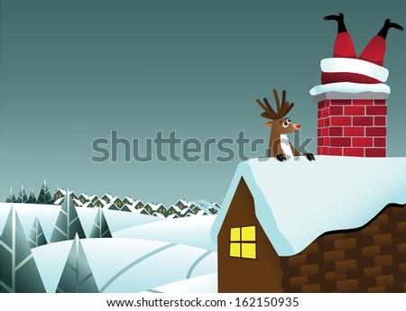 reindeer sees santa claus stuck