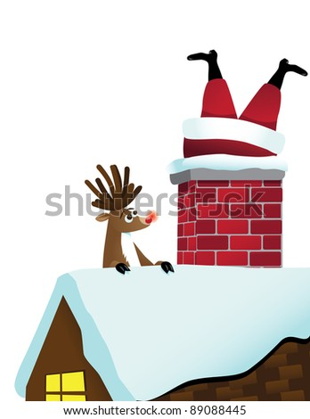 reindeer sees santa stuck in