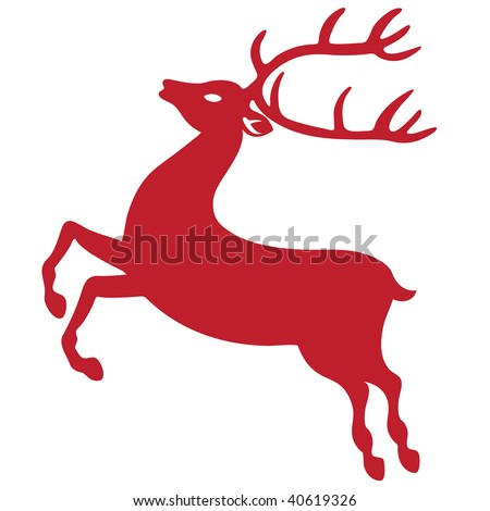 Reindeer silhouette for christmas isolated on white background