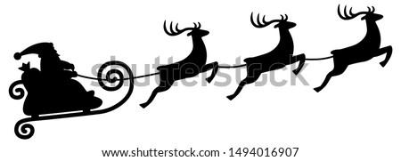 Reindeer sleigh ride / silhouette black, vector, isolated