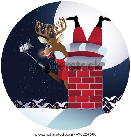 reindeer takes a selfie with