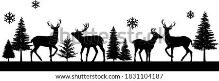 reindeer winter scene  merry