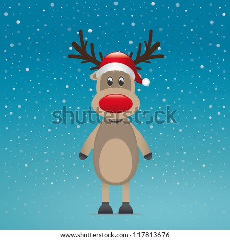 reindeer with red hat blue snow background