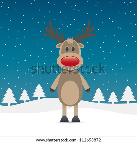 reindeer with red nose snow falls night