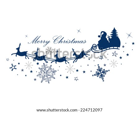 Stock Photo Reindeer with santa claus and sleigh