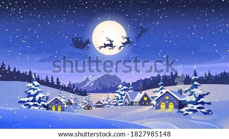 reindeers pulling santa claus