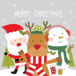 reinder , santa and snowman christmas greeting card