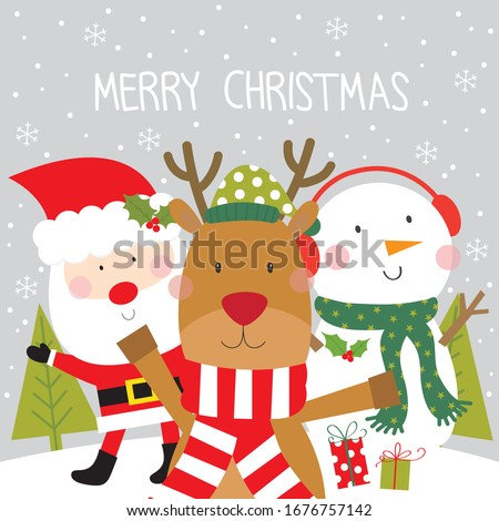 reinder , santa and snowman christmas greeting card