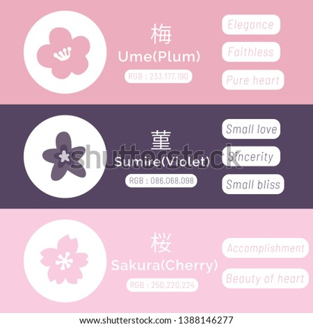 Reiwa Color; ume(plum), sumire(violet), sakura(cherry) with codeRGB and meanings. Japanese concept