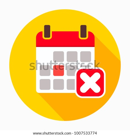 Reject calendar day icon vector, filled flat sign, solid pictogram isolated on white. Remove event symbol, logo illustration