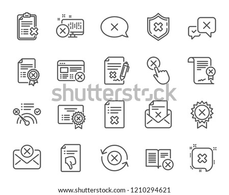 Reject or cancel line icons. Set of Decline certificate, Cancellation and Dislike linear icons. Refuse, Rejected stamp and Disapprove or cancel symbols. Wrong agreement, Delete mail. Vector