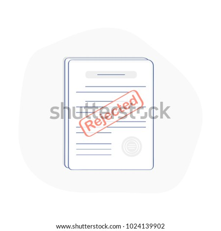 Reject stamp on the stack of paper sheets. Dismiss, Refuse Doc, Decline License icon, Rejected application or document. Flat outline modern icon concept design.