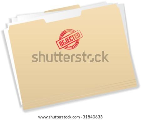Rejected Stamp on Manila Folder - Vector Illustration