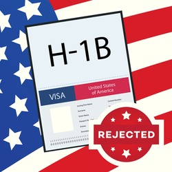 Rejected Visa Type H1B temporary work for workers concept illustration. H1b Visa USA page for the Class R. Vector 10 eps