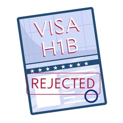 Rejected working American visa, top view, isolated on a white background. H1B visa. Vector illustration in a flat style.