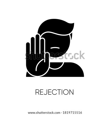 Rejection black glyph icon. Negative response, denial, offer refusal. Forbiddance, displeasure and disapproval silhouette symbol on white space. Person show stop gesture vector isolated illustration Foto stock ©