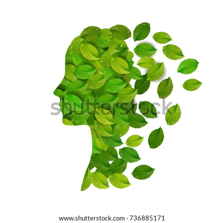 rejuvenale the face skin concept, woman profile created from the fresh green leaves on the white background, fresh day idea, think green concept, vector