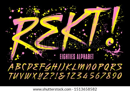 "Rekt! is an 80s grunge paint brush alphabet with bright day-glow colors; This font includes a layer of paint drips to give it a retro urban effect. The word ""Rekt"" is a phonetic spelling of ""wrecked."""