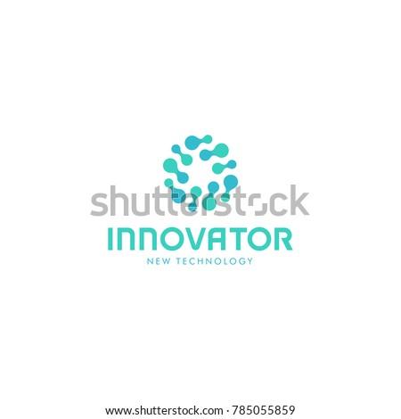 Related innovative abstract logo. New technology vector symbol. Innovator logotype.