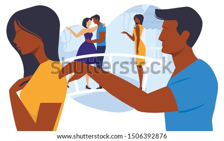 Relationship Breakup Flat Vector Illustration. Angry Girlfriend and Sad Boyfriend Cartoon Characters. Treason, Betrayed Wife Leaves Disloyal Husband. Love Crisis, Marriage Problem, Family Quarrel