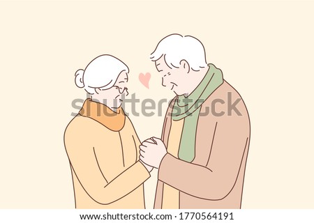 Relationship, love, couple, old age concept. Happy man and woman senior citizens cartoon characters holding hands together. Feeling happy of grandfather and grandmother retirement age illustration.