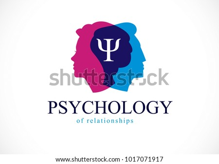 Relationship psychology concept created with man and woman heads profiles, vector logo or symbol of gender problems and conflicts in family, close relations and society. Classic style simple design.