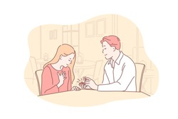 Relationship, romance, love, family concept. Young boyfriend in relationship makes marriage proposal to girlfriend. Romantic man gives ring to woman. Family love. Simple flat vector