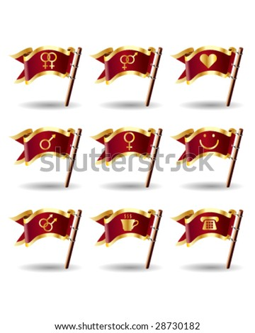 Relationship, sex, and gender icons on royal vector flag buttons - good for print, web, advertising, and promotion