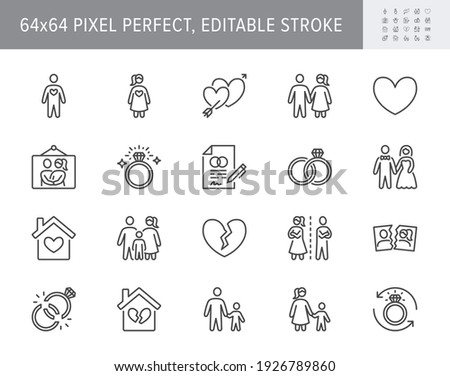 Relationship status line icons. Vector illustration include icon - husband, bachelor, wife, marriage, rings, wedding outline pictogram for marital condition. 64x64 Pixel Perfect, Editable Stroke.