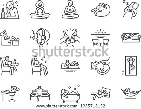 Relax line icon set. Included the icons as chill, take a rest, recreation, relaxation, calm, and more. Stock foto ©