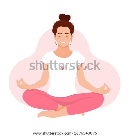 RELAX. MEDITATION. Love yourself. Mental health concept. Meditation. Healthcare. Inner harmony with yourself. Take time for your self. Vector illustration. Girl meditating on white background ストックフォト ©
