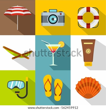 relax on beach icons set flat