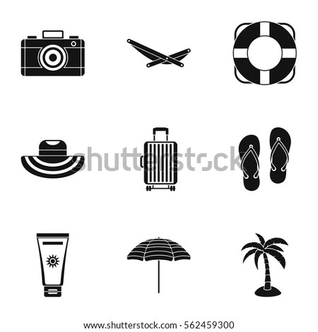 relax on beach icons set