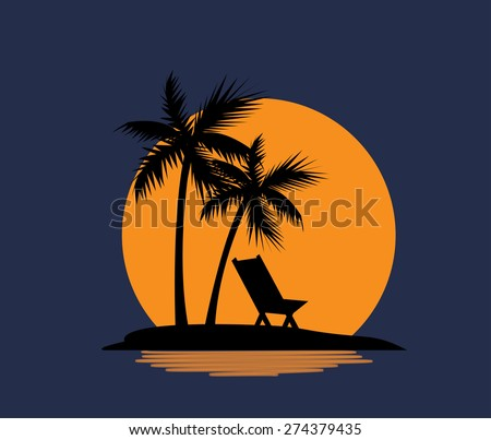 relax on the beach with palm