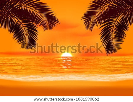 relaxation glowing sunset on a