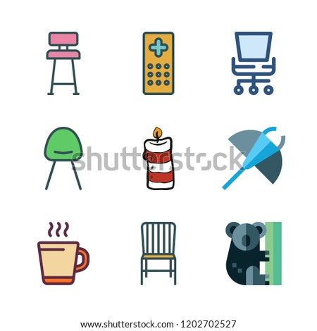 relaxation icon set. vector set about koala, candle, remote control and chair icons set.