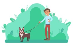 Relaxation in park vector, man walking dog in forest with trees and foliage. Doggy with owner summer character with friendly canine pet flat style
