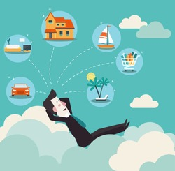 Relaxed and successful  business man relaxing on clouds and dreaming about house, car, yacht, shopping, furniture and holiday vacation. Saving and investing money. Future financial planning concept