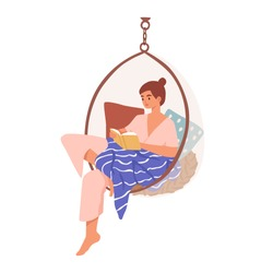 Relaxed domestic girl sitting in comfy hanging chair reading book vector flat illustration. Woman resting covered blanket surrounded by pillows isolated. Female enjoying recreation and selftime