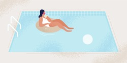 Relaxed fashionable woman with cocktail at swimming pool vector flat illustration. Female in swimsuit and sunglasses floating on rubber ring. Tanned girl in bikini enjoying summer vacation