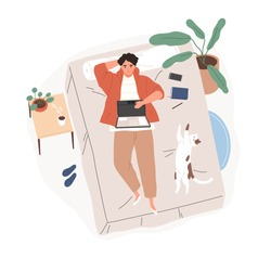 Relaxed freelancer guy lying on bed with laptop top view vector flat illustration. Modern male working remotely from bedroom isolated on white. Cheerful man surfing internet or chatting at home