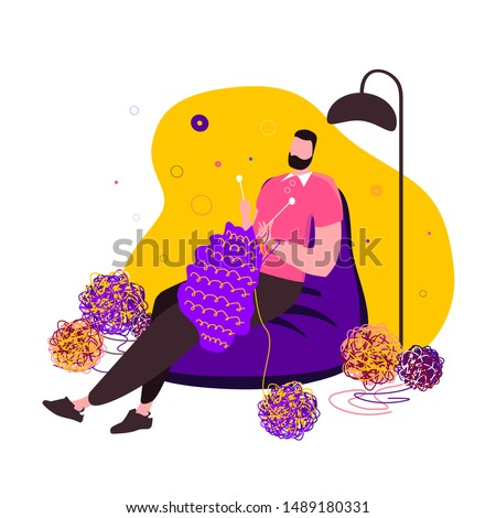 Relaxed knitting man in a cosy home atmosphere. Plying a needle guy in a modern flat style. An illustration for themed clubs, magazine articles. Boy occupied in habitual female hobbies illustration