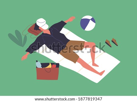 Relaxed man sleeping in the park with cap covering face vector flat illustration. Male resting outdoors lying on blanket on green grass. Guy asleep after picnic enjoy summer recreation