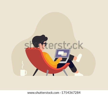 relaxed reclined man in a