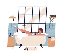 Relaxed woman taking bath surfing internet on smartphone vector flat illustration. Female lying in foam bubbles holding mobile phone isolated on white. Addicted girl chatting at bathroom interior
