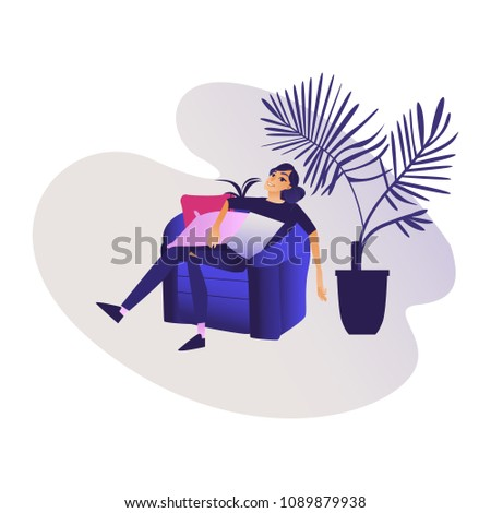 Relaxed young smiling woman enjoying rest sitting on comfortable armchair - calm beautiful girl relaxing and meditating in leisure time at home. Isolated cartoon vector illustration.