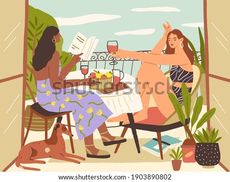 relaxed young women sitting