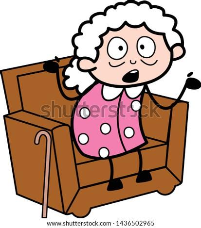 Relaxing and Debating - Old Woman Cartoon Granny Vector Illustration