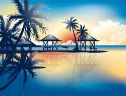 Relaxing in hammock on a tropical beach - vector wallpaper